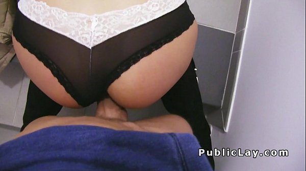 Very hot Euro babe bangs in public stairwell