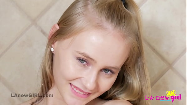 Cute 18 blonde babe showers her teenie body in 4K
