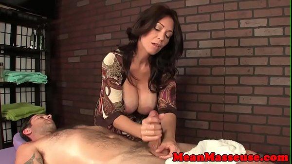 Cum controling mature jerking clients cock