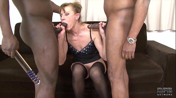 Granny interracial hardcore sex getting double ...