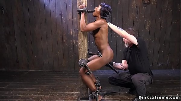 Ebony pussy vibed in strict bondage Thumb