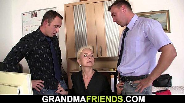 Blonde skinny granny threesome fuck