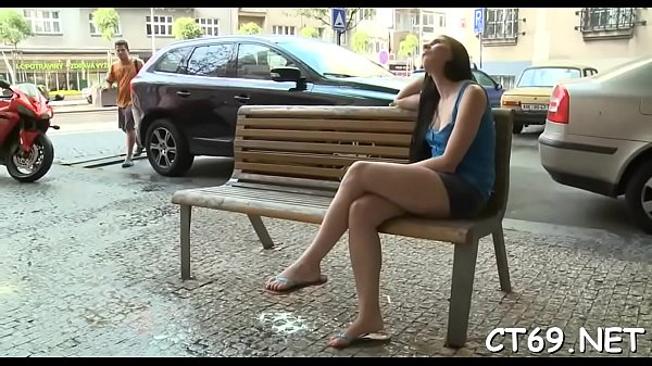 Excited lady widens her legs
