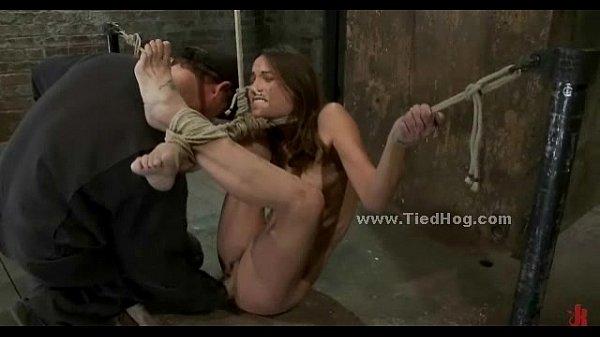 Tied sex slave is to suck cock in rough deepthroat sex