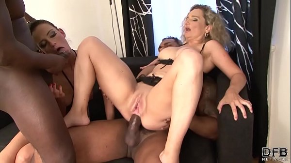 2 Milfs Take turns DP Fucked By Black Cocks Get...