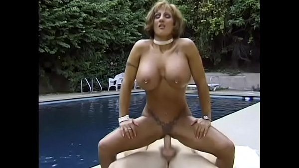 Busty brunette Corina Curves gets a good fuck after cooling off in the pool