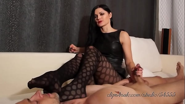 Foot Smelling Hand Job In Sexy Black Stockings