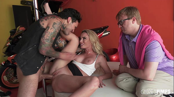 Hot Blonde Big Tit Wife Pounded Hard In Front of Wussy Cucked Husband By a Badass Stud
