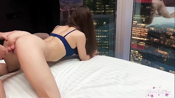 Horny Babe Public Blowjob and Hard Rough Fuck By The Panoramic Window Overlooking the Metropolis