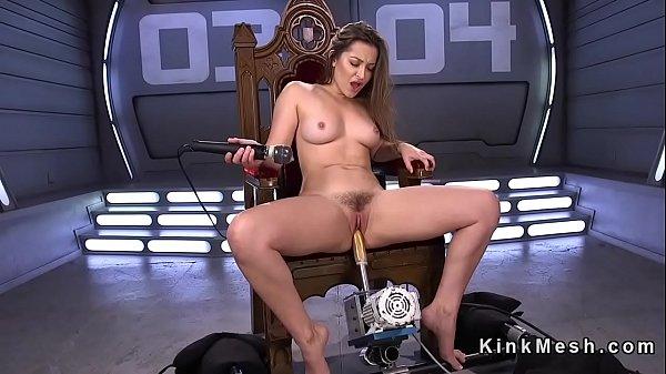 Pole dancer solo fucks machine