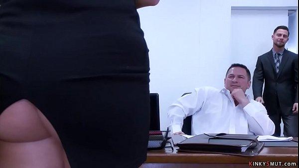 Busty secretary anal gangbanged