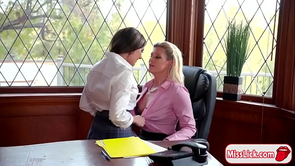 Sexy principal licks and fingers student Thumb