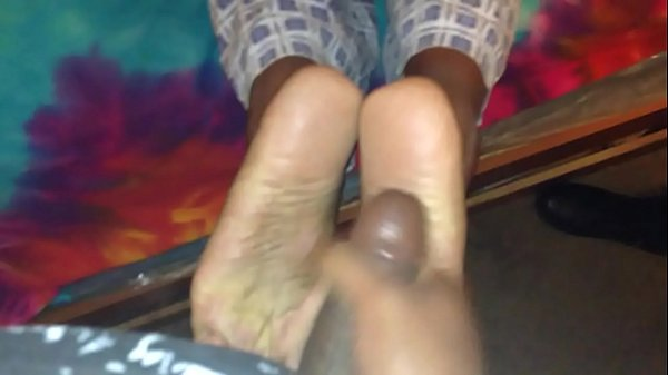 Jizz on ebony soles