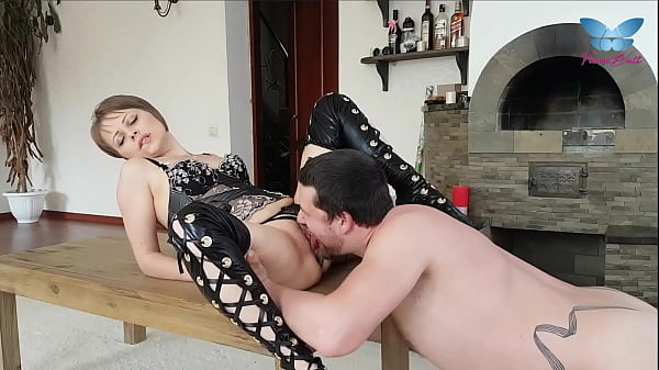Cute slut in sexy lingerie and leather stockings licked and fucked right on the table
