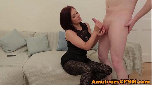 CFNM Brtitish amateur pulling cock on camera