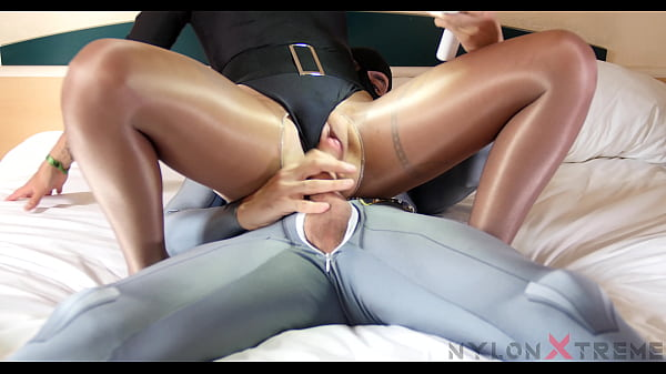 Naomie Loup with leotard and tan nylon pantyhose