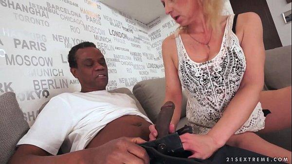 Lusty Grandma Ilona takes black cock