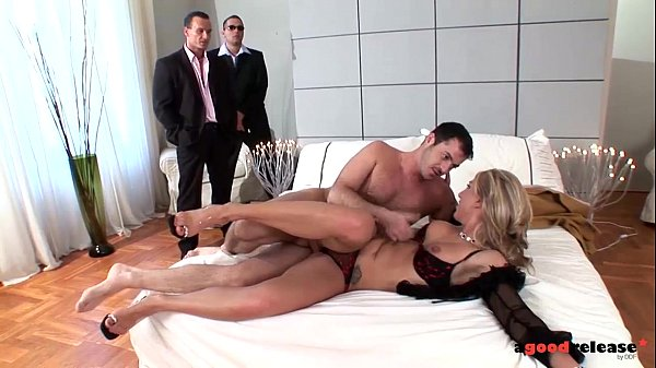 A Good Release Sexy Blonde bitchdevours 3 cocks in triple penetration