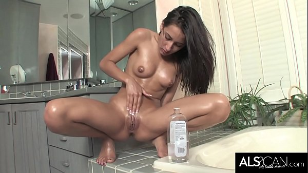 Sexy 18 Year Old Oils Up and Cums Twice in the Bathroom