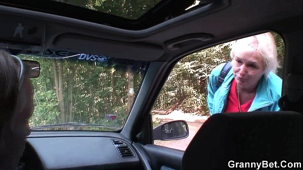 Hitchhiking 70 years old granny riding roadside