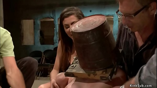 Bound brunette is rough public fucked