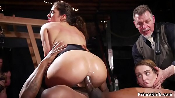 Bdsm orgy party with interracial anal