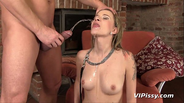 Submissive Angel takes a mouthful of hot piss