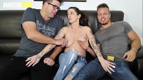 AMATEUR EURO - Hot German Amateur Adrienne Kiss Takes Two Cocks In MMF Sex
