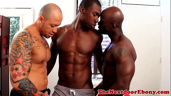 Trio interracial guys throat workout