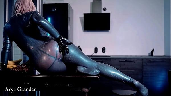 Hot blue latex rubber catsuit teasing milf Mistress, big ass curvy body fetish video