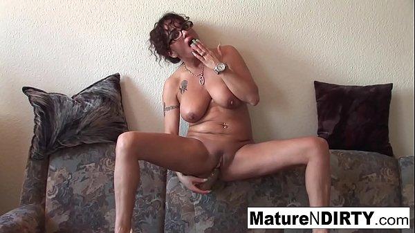 Grandma with glasses masturbates and sucks cock