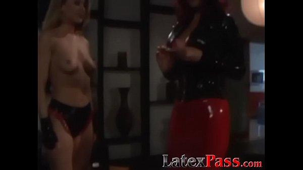 Lesbian mistress torments and dildo fucks submissive