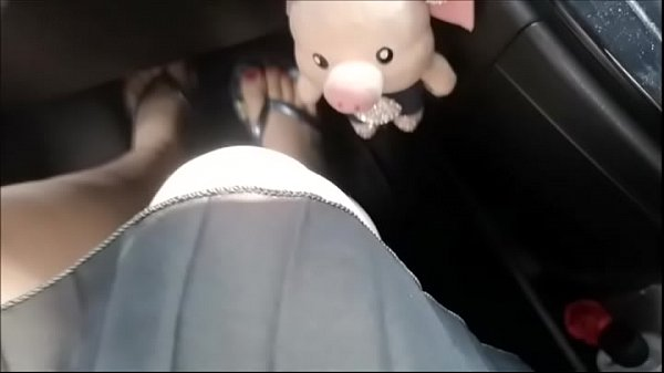 Hot pedal pumping and foot worship in my dirty car while I'm driving in flip flops
