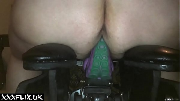 Horny Wife on Rocking Chair Fucked by Bad Dragon Dildo