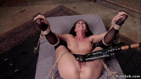 Slave in stockings riding big dick