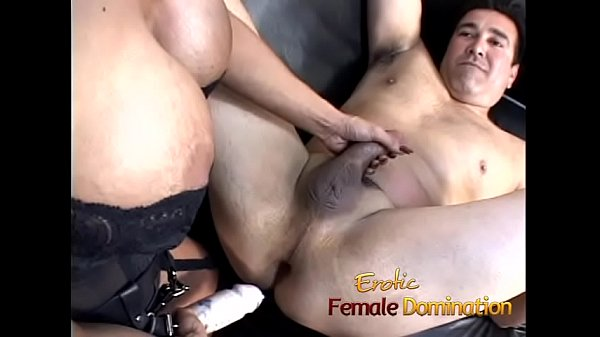Beautiful brunette dominatrix makes her slave cum after some pegging