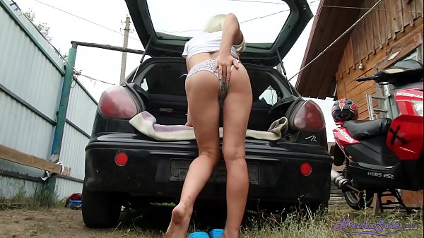 Blonde Masturbate Pussy and Orgasm at the Car Outdoor