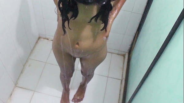 Hot shower, masturbating in the bathroom and spreading her ass
