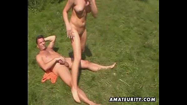 Amateur outdoor threesome action with facial cumshot