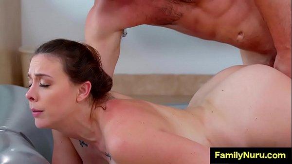 Stepmom massage sons dick under shower