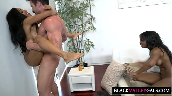 Huge White Dick For Two Black Cuties
