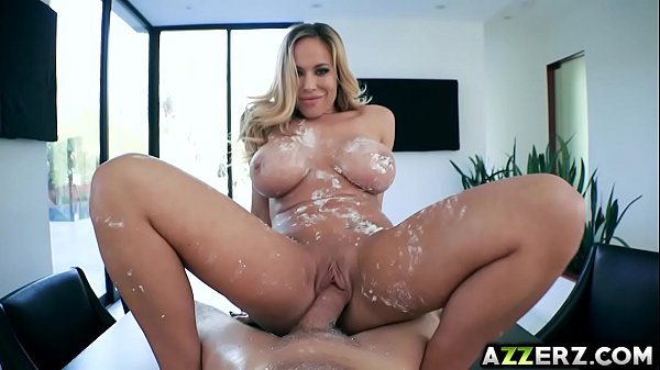 Busty cougar Olivia Austin seduced her hot neig...