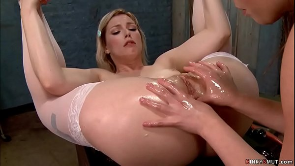 Blonde in stockings anal fisted Thumb