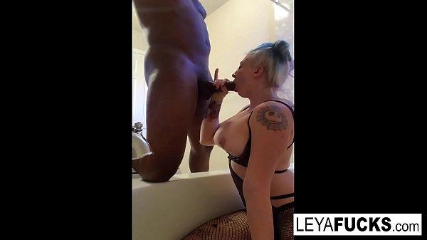 Leya Flacon sucks a black cock