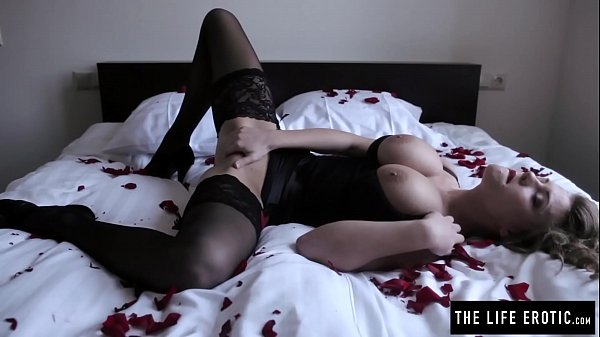 Angry girl with huge tits and red lipstick masturbates hard