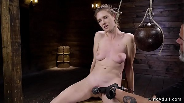 Naked brunette slave tormented on hogtie