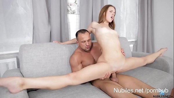pettite girl does the splits on her mans cock