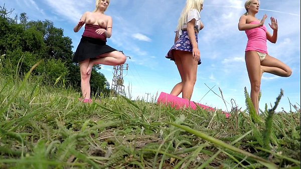 Outdoors, Public Fitness in Shortest Skirts on a windy day, outside, with many upskirts and asses exhibitions Thumb