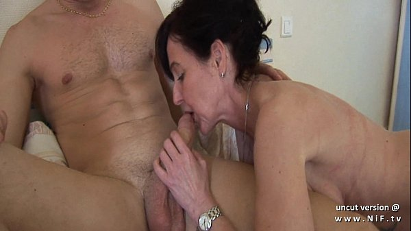 Naughty french mom cougar fucked by a boy and plugged and fisted by a girl