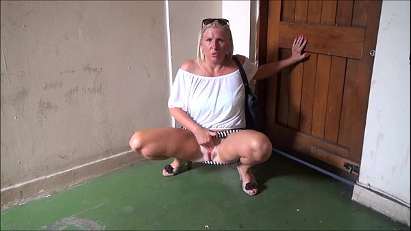 Mature flashing mum outdoors with sexy exhibitionist milf Jerry showing tits and